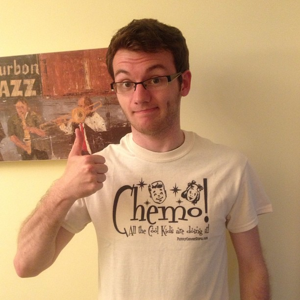 Stephen wearing a funny cancer tshirt1